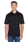 UltraClub 8406 Mens Cool & Dry Moisture Wicking Short Sleeve Polo Shirt Black/Red Front