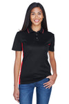 UltraClub 8406L Womens Cool & Dry Moisture Wicking Short Sleeve Polo Shirt Black/Red Front