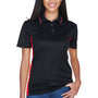 UltraClub Womens Cool & Dry Moisture Wicking Short Sleeve Polo Shirt - Black/Red