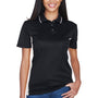 UltraClub Womens Cool & Dry Moisture Wicking Short Sleeve Polo Shirt - Black/Stone