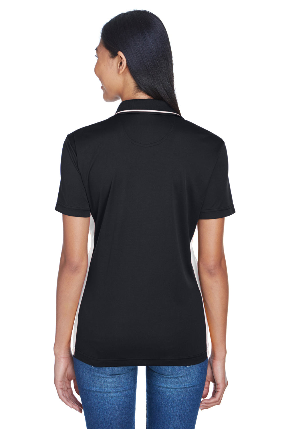 UltraClub 8406L Womens Cool & Dry Moisture Wicking Short Sleeve Polo Shirt Black/Stone Back
