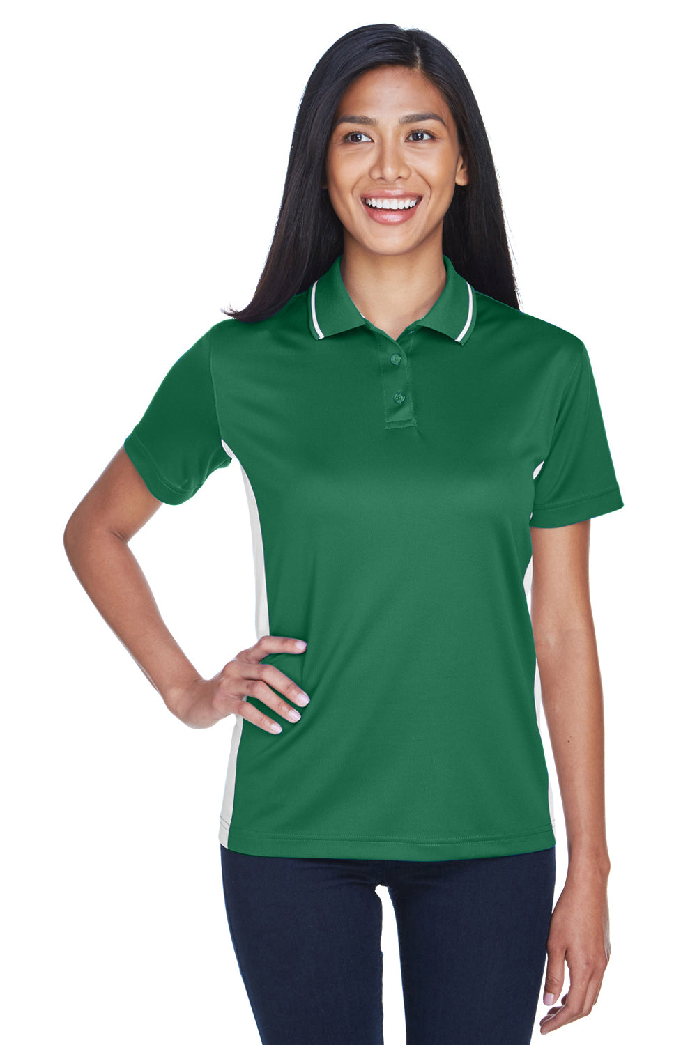UltraClub 8406L Womens Cool & Dry Moisture Wicking Short Sleeve Polo Shirt Forest Green/White Front