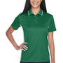 UltraClub Womens Cool & Dry Moisture Wicking Short Sleeve Polo Shirt - Forest Green/White