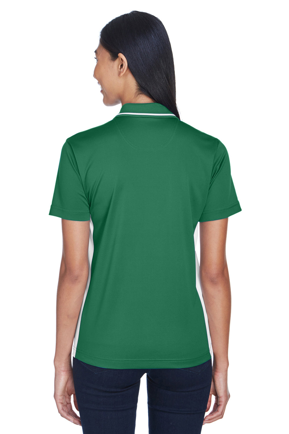 UltraClub 8406L Womens Cool & Dry Moisture Wicking Short Sleeve Polo Shirt Forest Green/White Back
