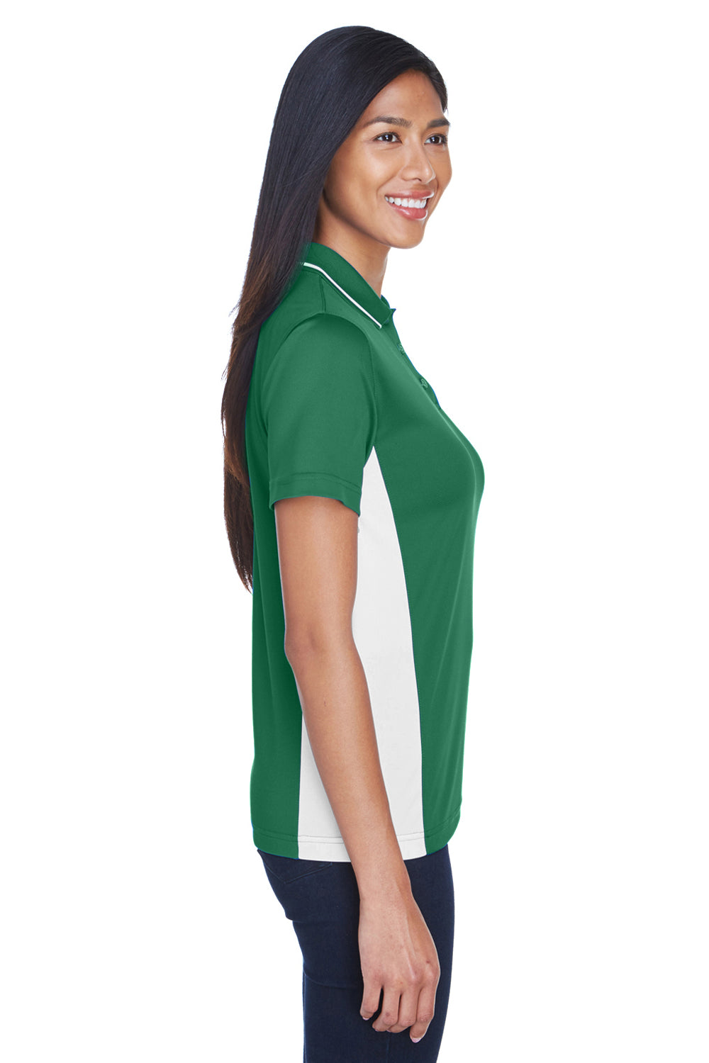 UltraClub 8406L Womens Cool & Dry Moisture Wicking Short Sleeve Polo Shirt Forest Green/White Side