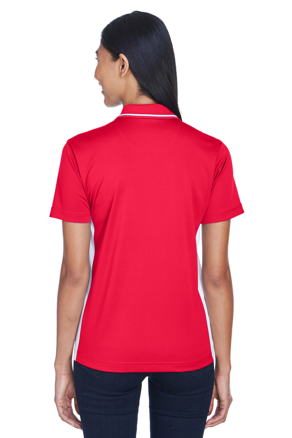 UltraClub 8406L Womens Cool & Dry Moisture Wicking Short Sleeve Polo Shirt Red/White Back