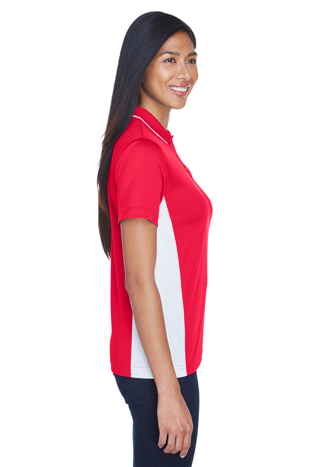 UltraClub 8406L Womens Cool & Dry Moisture Wicking Short Sleeve Polo Shirt Red/White Side