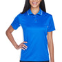 UltraClub Womens Cool & Dry Moisture Wicking Short Sleeve Polo Shirt - Royal Blue/White