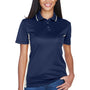 UltraClub Womens Cool & Dry Moisture Wicking Short Sleeve Polo Shirt - Navy Blue/White