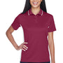 UltraClub Womens Cool & Dry Moisture Wicking Short Sleeve Polo Shirt - Maroon/White