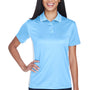UltraClub Womens Cool & Dry Moisture Wicking Short Sleeve Polo Shirt - Columbia Blue/White