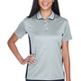 UltraClub Womens Cool & Dry Moisture Wicking Short Sleeve Polo Shirt - Grey/Black