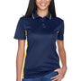 UltraClub Womens Cool & Dry Moisture Wicking Short Sleeve Polo Shirt - Navy Blue/Gold