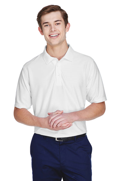 UltraClub 8413 Mens Cool & Dry Elite Performance Moisture Wicking Short Sleeve Polo Shirt White Front