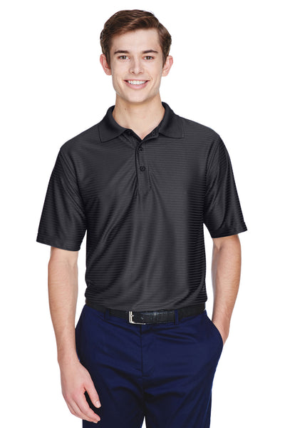 UltraClub 8413 Mens Cool & Dry Elite Performance Moisture Wicking Short Sleeve Polo Shirt Black Front
