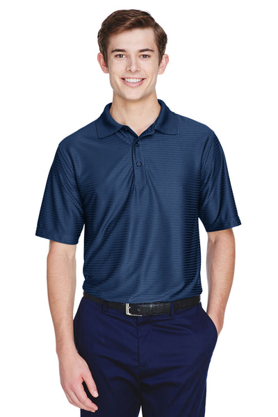 UltraClub 8413 Mens Cool & Dry Elite Performance Moisture Wicking Short Sleeve Polo Shirt Navy Blue Front