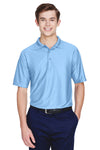 UltraClub 8413 Mens Cool & Dry Elite Performance Moisture Wicking Short Sleeve Polo Shirt Carolina Blue Front