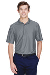UltraClub 8413 Mens Cool & Dry Elite Performance Moisture Wicking Short Sleeve Polo Shirt Charcoal Grey Front