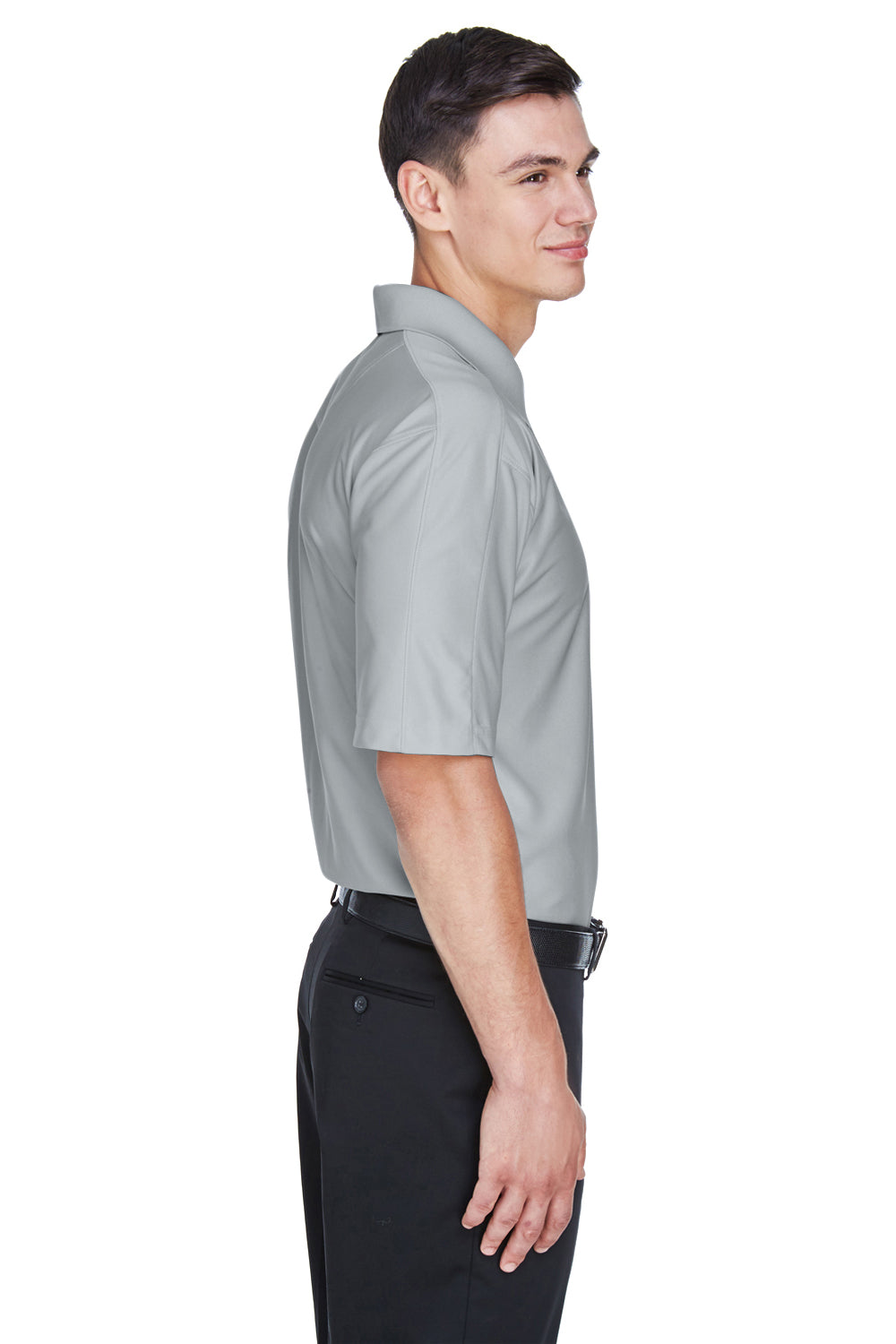 UltraClub 8415 Mens Cool & Dry Elite Performance Moisture Wicking Short Sleeve Polo Shirt Grey Side