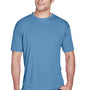 UltraClub Mens Cool & Dry Performance Moisture Wicking Short Sleeve Crewneck T-Shirt - Indigo Blue