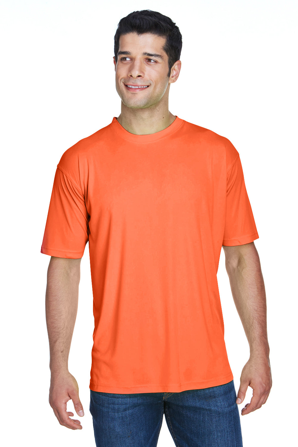 UltraClub 8420 Mens Cool & Dry Performance Moisture Wicking Short Sleeve Crewneck T-Shirt Bright Orange Front