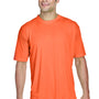UltraClub Mens Cool & Dry Performance Moisture Wicking Short Sleeve Crewneck T-Shirt - Bright Orange