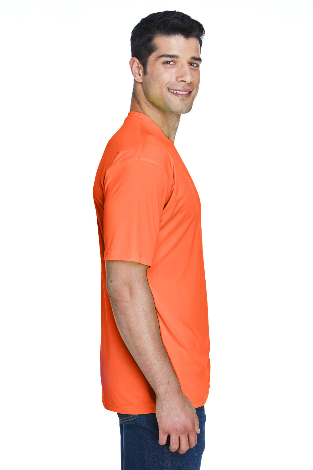 UltraClub 8420 Mens Cool & Dry Performance Moisture Wicking Short Sleeve Crewneck T-Shirt Bright Orange Side