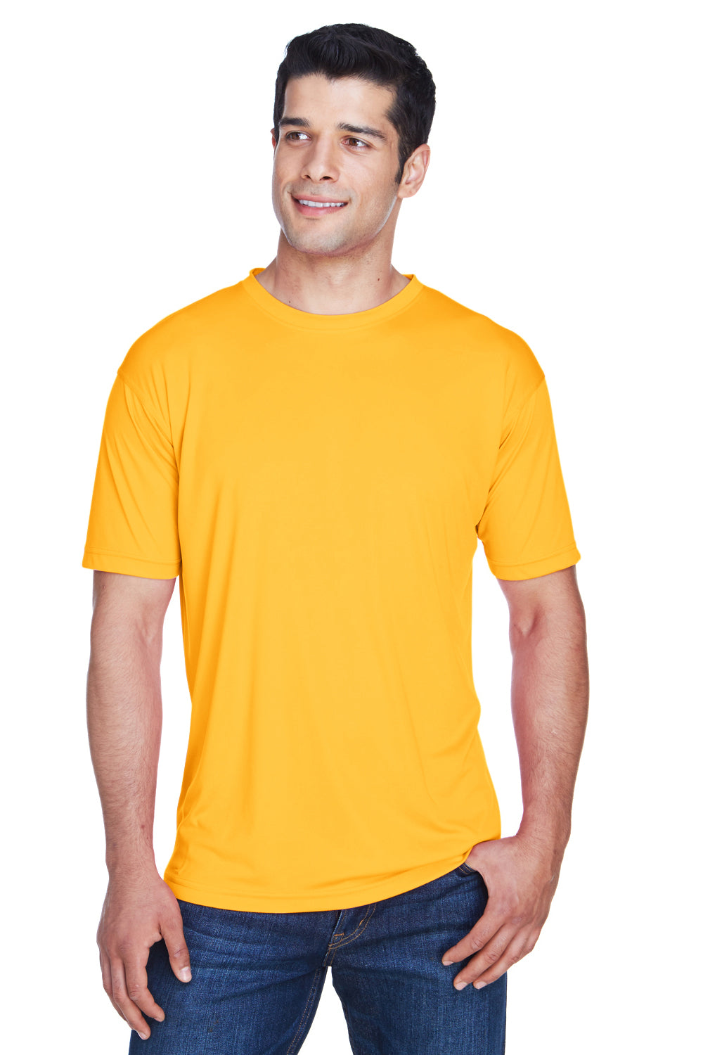 UltraClub 8420 Mens Cool & Dry Performance Moisture Wicking Short Sleeve Crewneck T-Shirt Gold Front