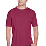 UltraClub Mens Cool & Dry Performance Moisture Wicking Short Sleeve Crewneck T-Shirt - Maroon