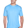 UltraClub Mens Cool & Dry Performance Moisture Wicking Short Sleeve Crewneck T-Shirt - Columbia Blue
