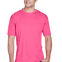 UltraClub Mens Cool & Dry Performance Moisture Wicking Short Sleeve Crewneck T-Shirt - Heliconia Pink