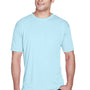 UltraClub Mens Cool & Dry Performance Moisture Wicking Short Sleeve Crewneck T-Shirt - Ice Blue