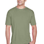 UltraClub Mens Cool & Dry Performance Moisture Wicking Short Sleeve Crewneck T-Shirt - Military Green