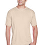 UltraClub Mens Cool & Dry Performance Moisture Wicking Short Sleeve Crewneck T-Shirt - Sand