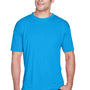 UltraClub Mens Cool & Dry Performance Moisture Wicking Short Sleeve Crewneck T-Shirt - Sapphire Blue