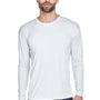 UltraClub Mens Cool & Dry Performance Moisture Wicking Long Sleeve Crewneck T-Shirt - White