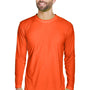 UltraClub Mens Cool & Dry Performance Moisture Wicking Long Sleeve Crewneck T-Shirt - Bright Orange