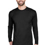 UltraClub Mens Cool & Dry Performance Moisture Wicking Long Sleeve Crewneck T-Shirt - Black