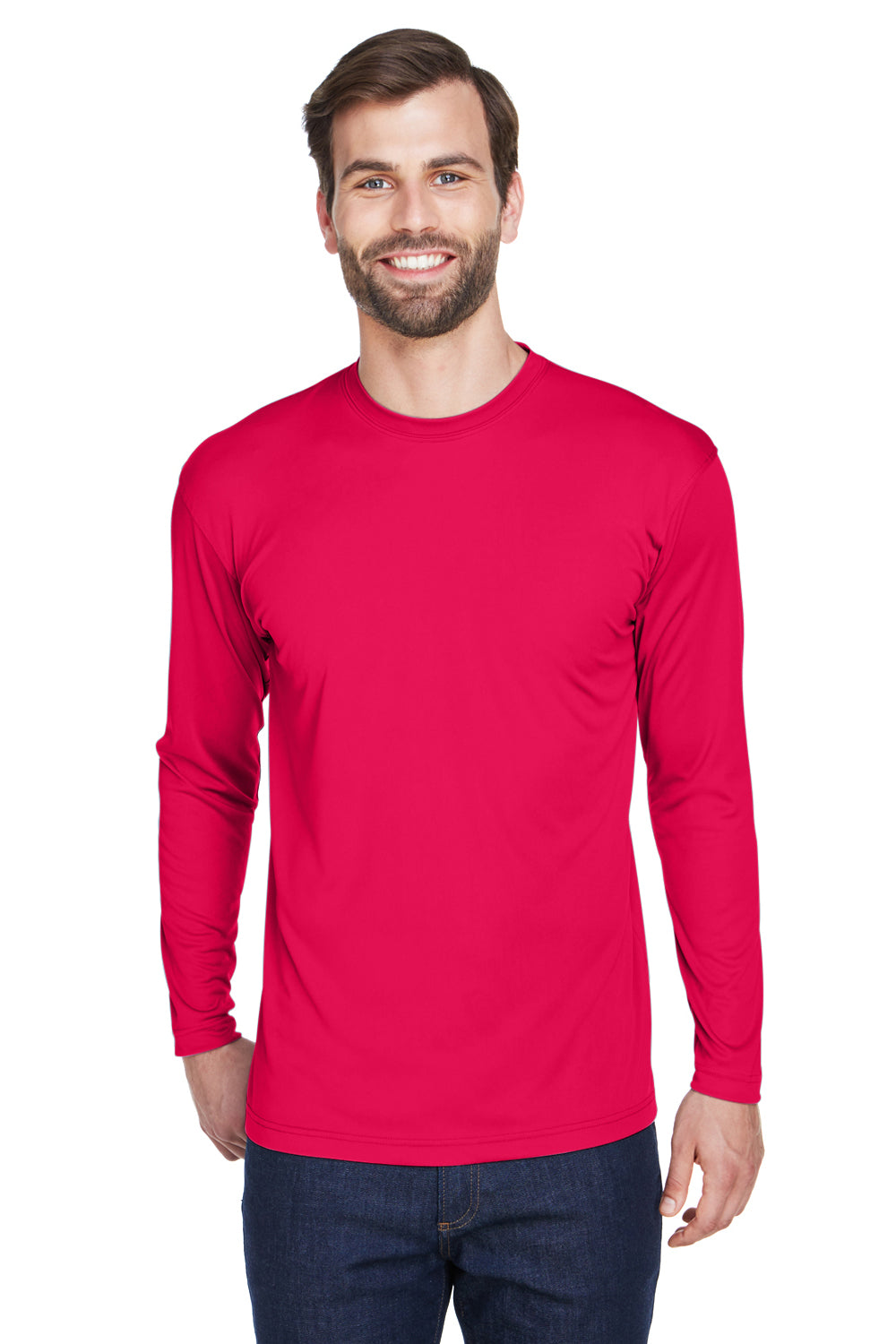 UltraClub 8422 Mens Cool & Dry Performance Moisture Wicking Long Sleeve Crewneck T-Shirt Red Front