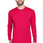 UltraClub Mens Cool & Dry Performance Moisture Wicking Long Sleeve Crewneck T-Shirt - Red