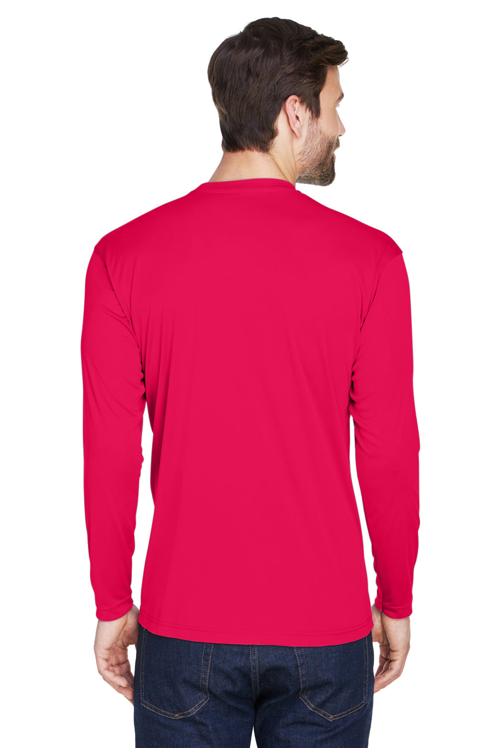 UltraClub 8422 Mens Cool & Dry Performance Moisture Wicking Long Sleeve Crewneck T-Shirt Red Back
