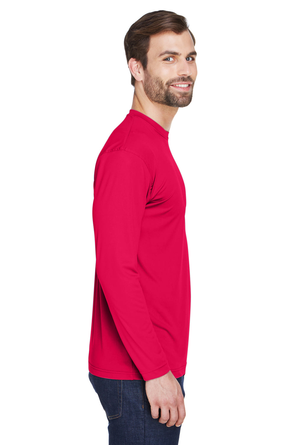 UltraClub 8422 Mens Cool & Dry Performance Moisture Wicking Long Sleeve Crewneck T-Shirt Red Side
