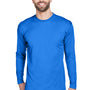 UltraClub Mens Cool & Dry Performance Moisture Wicking Long Sleeve Crewneck T-Shirt - Royal Blue
