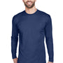 UltraClub Mens Cool & Dry Performance Moisture Wicking Long Sleeve Crewneck T-Shirt - Navy Blue