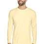 UltraClub Mens Cool & Dry Performance Moisture Wicking Long Sleeve Crewneck T-Shirt - Butter Yellow