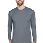 UltraClub Mens Cool & Dry Performance Moisture Wicking Long Sleeve Crewneck T-Shirt - Charcoal Grey