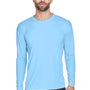 UltraClub Mens Cool & Dry Performance Moisture Wicking Long Sleeve Crewneck T-Shirt - Columbia Blue
