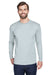 UltraClub 8422 Mens Cool & Dry Performance Moisture Wicking Long Sleeve Crewneck T-Shirt Grey Front