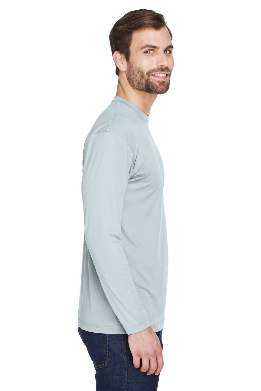 UltraClub 8422 Mens Cool & Dry Performance Moisture Wicking Long Sleeve Crewneck T-Shirt Grey Side