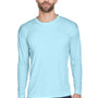 UltraClub Mens Cool & Dry Performance Moisture Wicking Long Sleeve Crewneck T-Shirt - Ice Blue